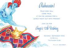 Magical Lamp Blue Genie Invitations