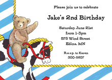 Teddy Bear Riding Pet Pony Invitations