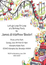 Roller Coaster Park Invitations