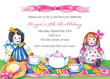 Tea Party Dolls Invitations