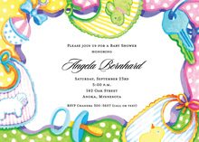 Colorful Baby Bibs Invitations