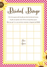 Sunflower Oilcloth Bridal Shower Bingo Game