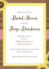 Sunflower Oilcloth Bellyband Bridal Shower Invitations