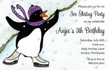 Ice Skating Penguin Girl Invitations