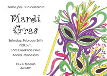 Mardi Gras Masks Invitations
