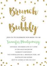 Gold Dots Brunch Bubbly Mint Script Invitations