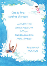 Water Slide Pool Party Invitations