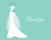 Wedding Dress Aqua Flowers Thank You Cards