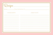Pink Border Gold Text Recipe Cards