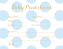 Light Blue Polka Dots Baby Prediction Cards