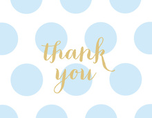 Light Blue Dots Gold Glitter Graphic Thank You Note