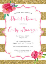 Gold Glitter Stripes Watercolor Floral Bridal Shower Invites