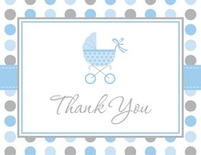 Pink Gray Polka Dot Baby Carriage Thank You Cards