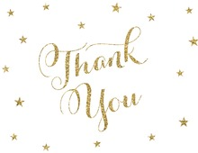 Gold Glitter Stars Thank You Cards