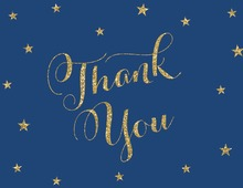 Gold Glitter Stars Navy Thank You Cards