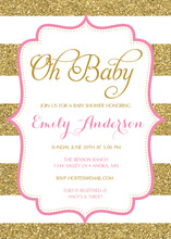 Gold Glitter Stripes Pink Frame Baby Shower Invites