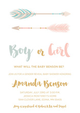 Tribal Arrows Gender Reveal Baby Shower Event Invitations