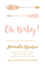 Pink Tribal Arrows Baby Shower Invitations
