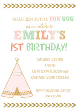 Tribal Girl Teepee Pow Wow Invitations