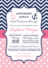 Pink Nautical Twin Anchor Baby Shower Invitations