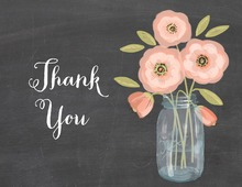 Pink Coral Flowers Mason Jar Chalkboard Thank You Note Card