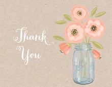 Pink Coral Flowers Mason Jar Kraft Thank You Note Card