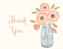 Pink Flowers Mason Jar Rustic Thank You Note Card