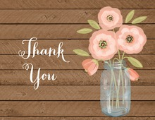 Pink Coral Flowers Mason Jar Wood Thank You Note Card
