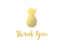 Faux Gold Foil Pineapple Thank You Note Card