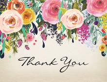 Watercolor Floral Bouquet Rustic Thank You Notes