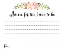 Watercolor Rose Bouquet Bridal Advice Cards