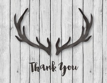 Black Antlers White Wood Thank You Notes