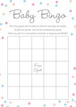Pink vs Blue Polka Dots Baby Bingo Game
