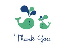 Green Whale Splash Thank You Cards