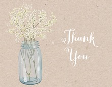 Baby Breath Flowers Mason Jar Kraft Thank You Note Card
