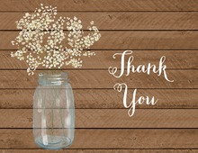 Baby Breath Flowers Mason Jar Wood Thank You Note Card
