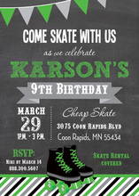 Green Roller Skates Chalkboard Birthday Invitations