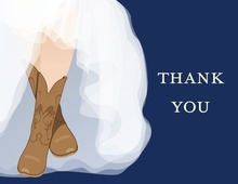My Special Western Boots Navy Thank You Cards