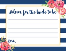 Navy Stripes Watercolor Floral Bridal Advice Cards