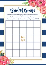 Navy Stripes Watercolor Floral Bridal Bingo