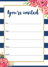 Navy Stripes Watercolor Floral Fill-in Invitations