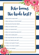 Navy Stripes Watercolor Floral Who Knows Bride Game