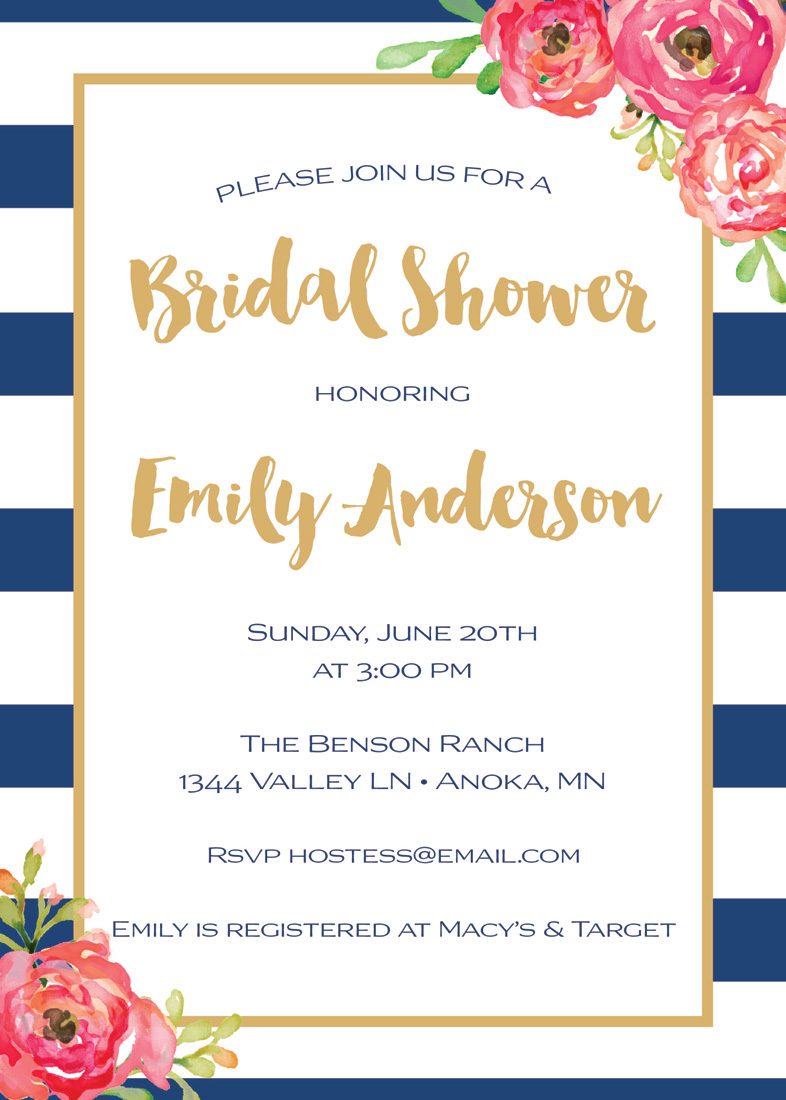 Navy Stripes Watercolor Floral Bridal Shower Invites