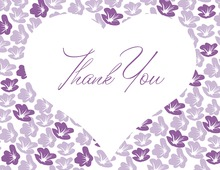 Big Heart In Purple Bloom Thank You Cards