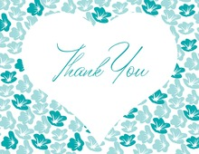 Big Heart In Teal Bloom Thank You Cards