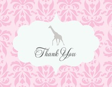 Pink Damask Giraffe Thank You Cards