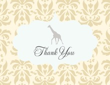 Beige Yellow Damask Giraffe Thank You Cards