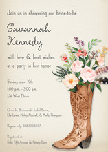 Western Boot Rose Bouquet Rustic Bridal Invitations