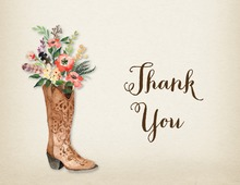 Western Boot Rose Bouquet Rustic Bridal Note