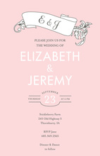Fine Vintage Leaf Pink Invitations